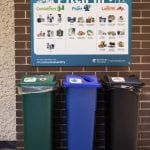 A compost, recycling and garbage bin with a Pitch In sign above that shows students in pictures what goes in which bin.