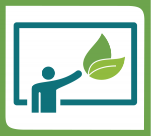 Showcasing sustainability. A person in front of a board with a leaf on it.
