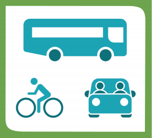 Sustainable transportation. A bus, a cyclist and a car with two people.