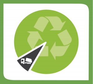 Increasing waste diverted from landfill. Pie chart with recycling symbol showing a small slice with a garbage truck.