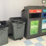 Garbage bins.