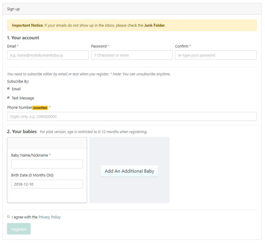 MyBaby - User Registration Form