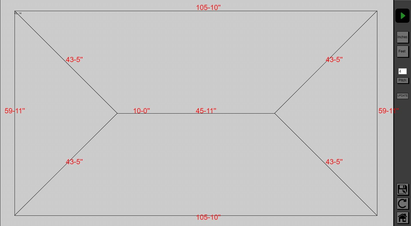 A detail view of the canvas drawing of a roof in the estimating software