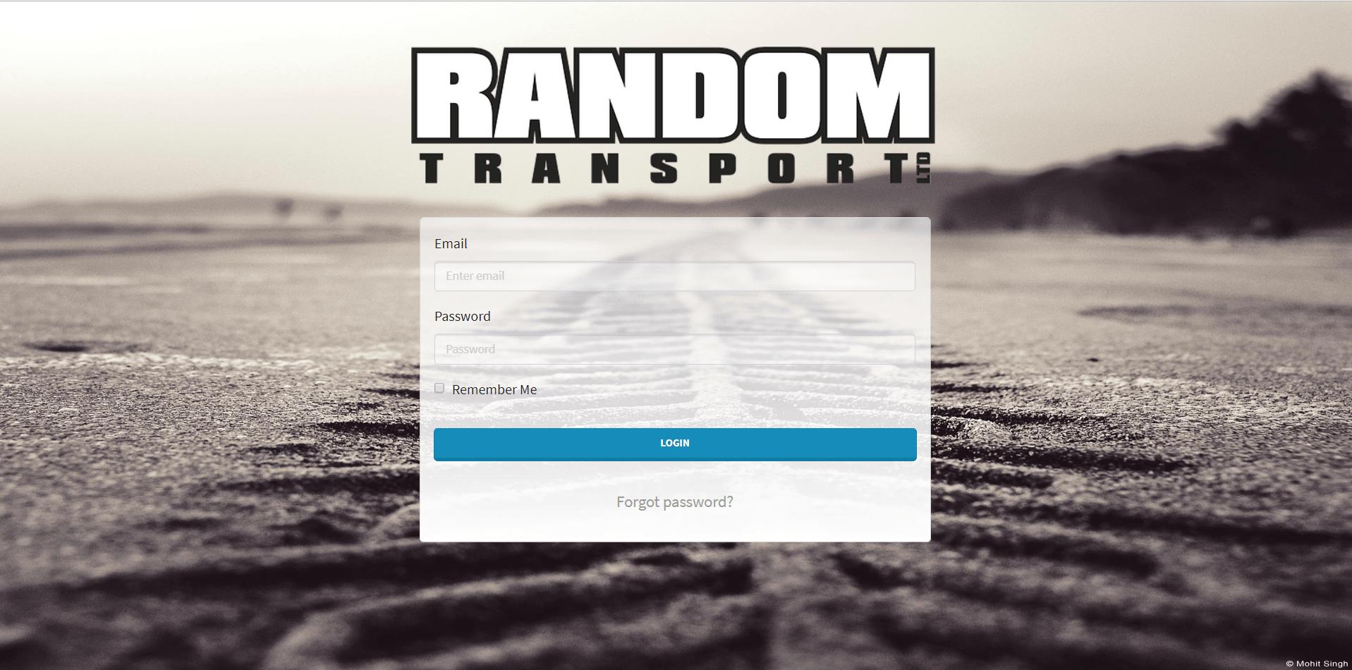 Random Transport - Log In Page