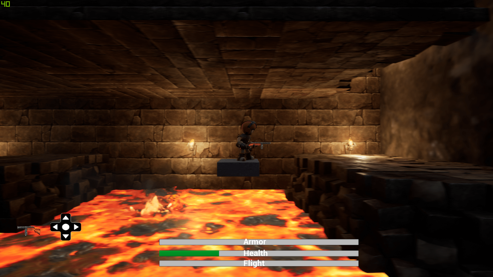 Jumping over lava pit