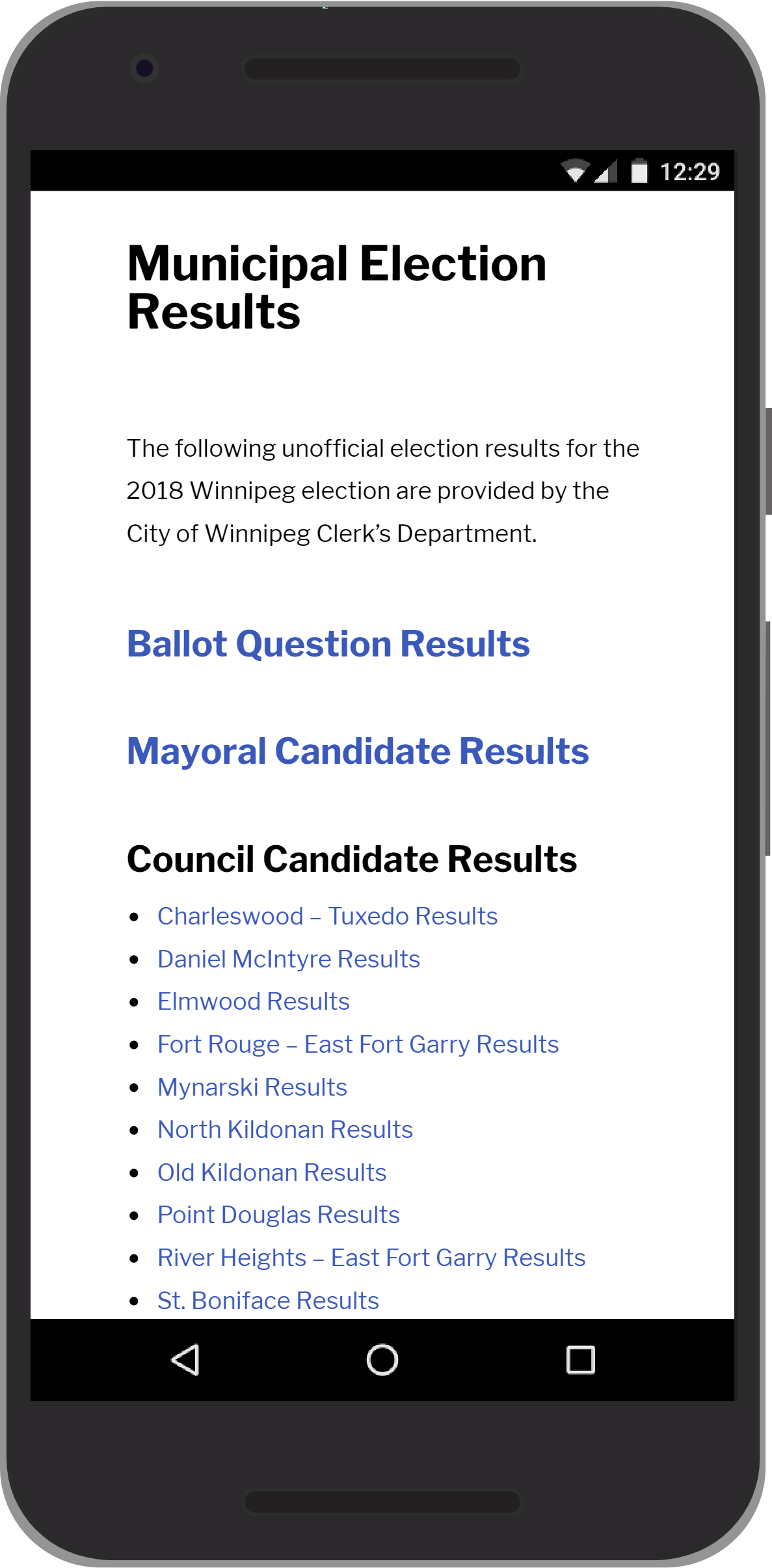 Winnipeg Election - Election Results Mobile