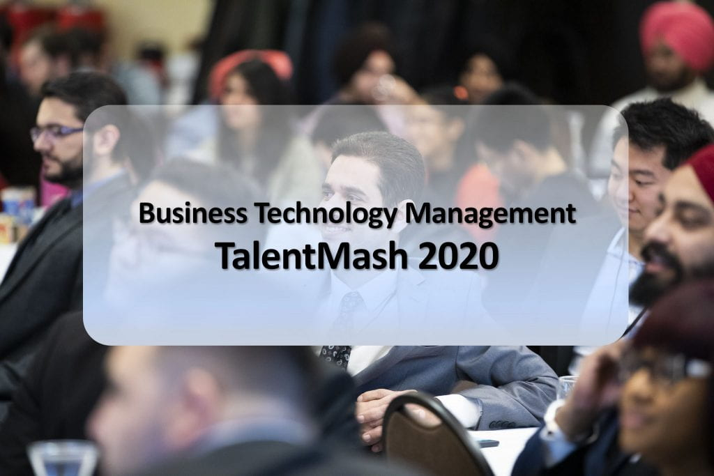 "Decorative Banner ""Business Technology Management TalentMash 2020"""