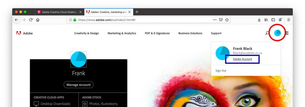 Adobe Account page