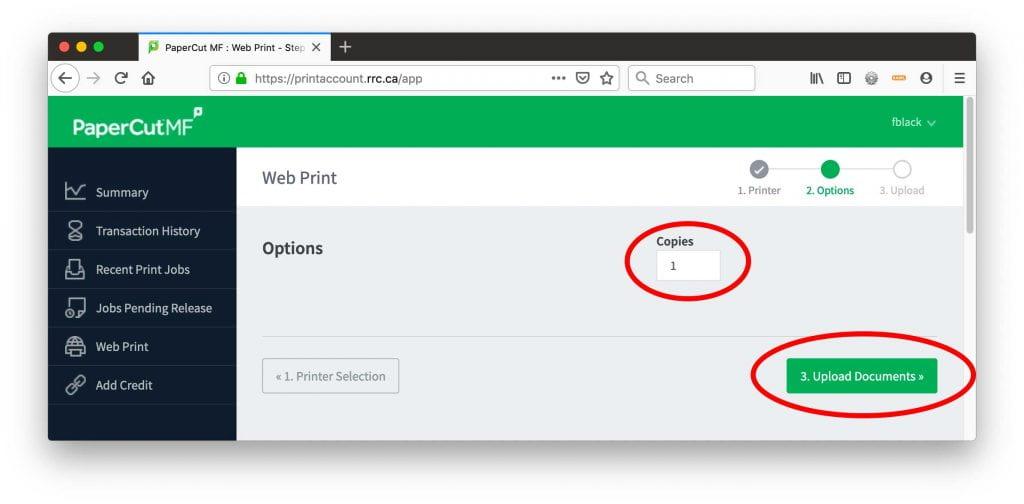 Web Print - Options