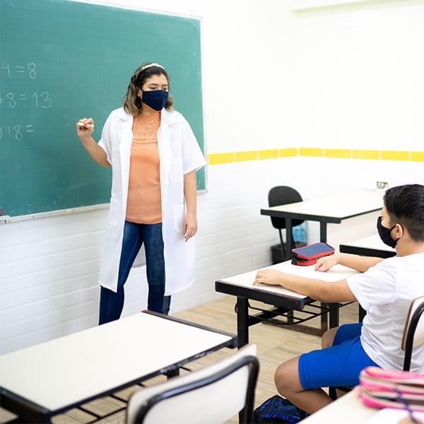 Teacher in front of her class