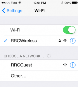 Staff and students should connect through the Wireless Network named RRCWireless. Do not connect to RRCGUEST.