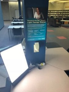 Therapy light located in the Notre Dame Campus library.