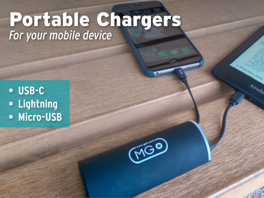 portable chargers available for loan