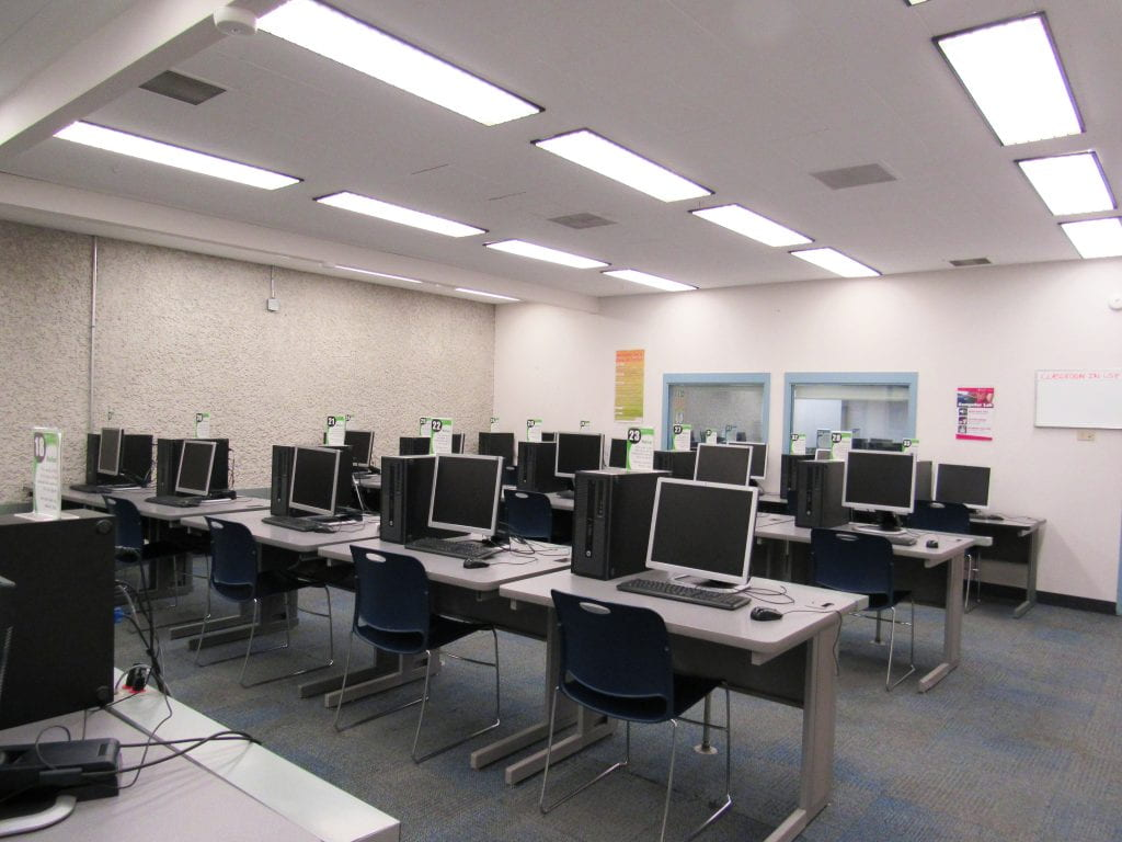 Computer Lab with view of classroom windows