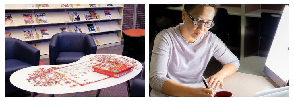 Wellness activities - puzzle and light therapy at NDC library