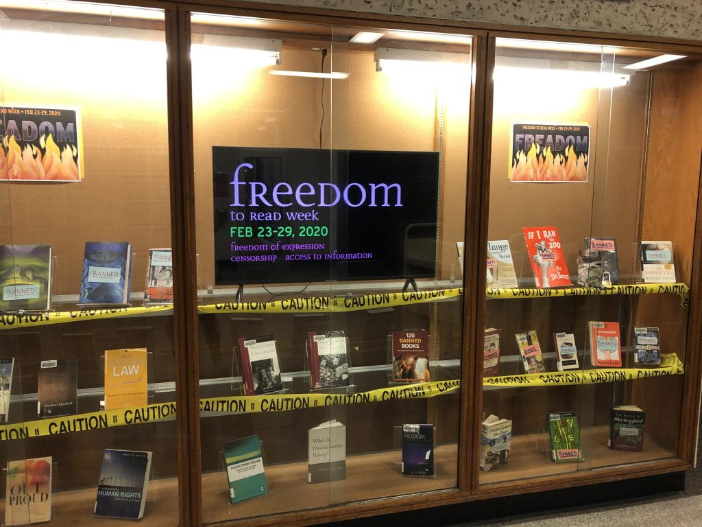Freedom to Read Week Window Display at NDC Library
