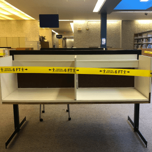 Two carrels taped off due to COVID-19 related restrictions