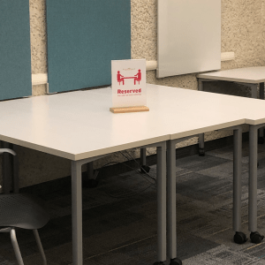 table reserved for tutoring