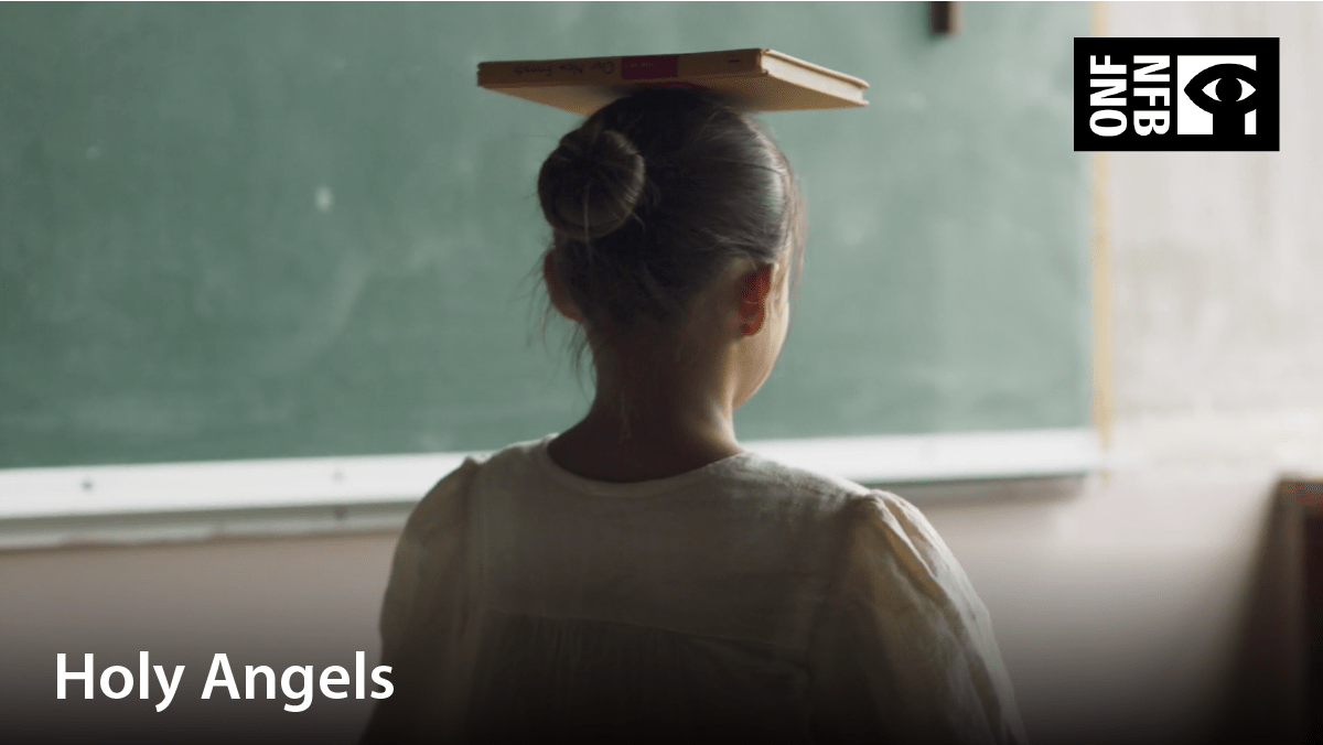 Image of girl balancing a book on her head. Film title: Holy angels