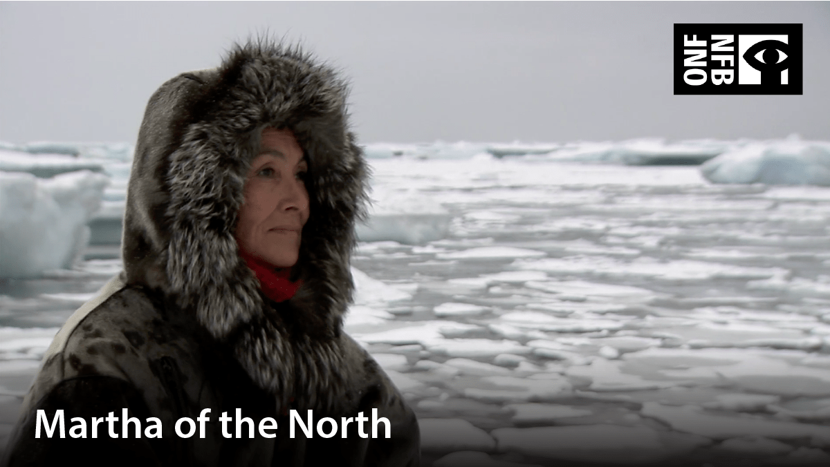 Indigenous woman with parka on. Film title: Martha of the North