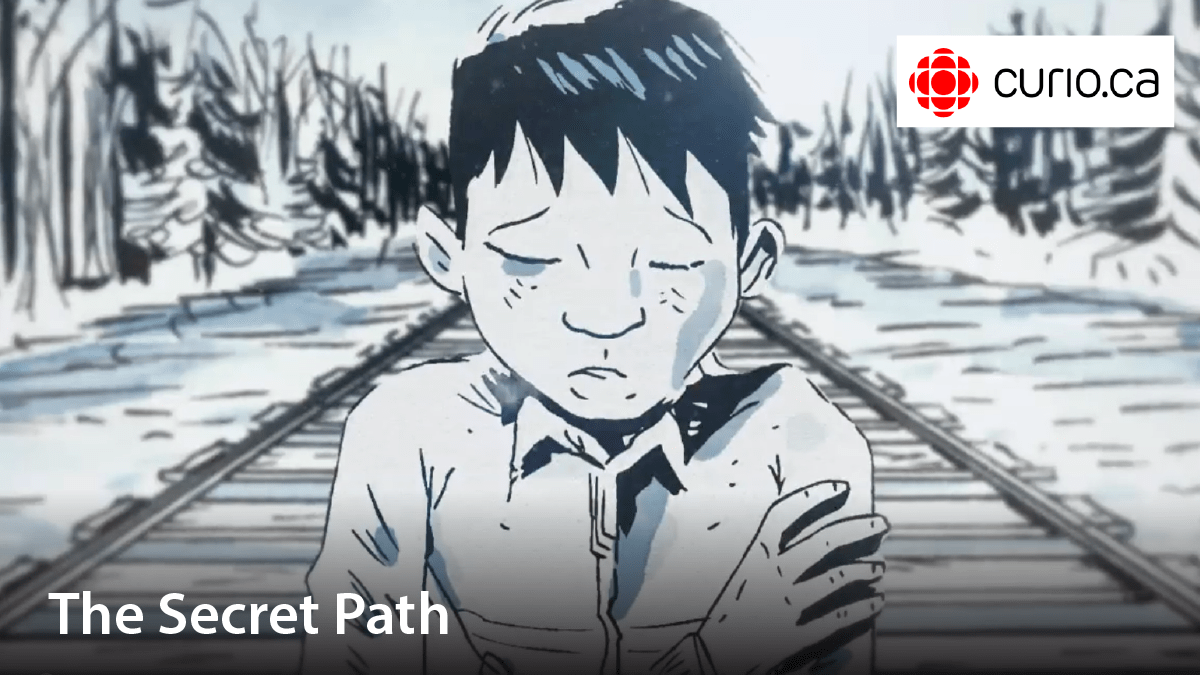 Cartoon image of a boy in the cold. Film title: The secret path