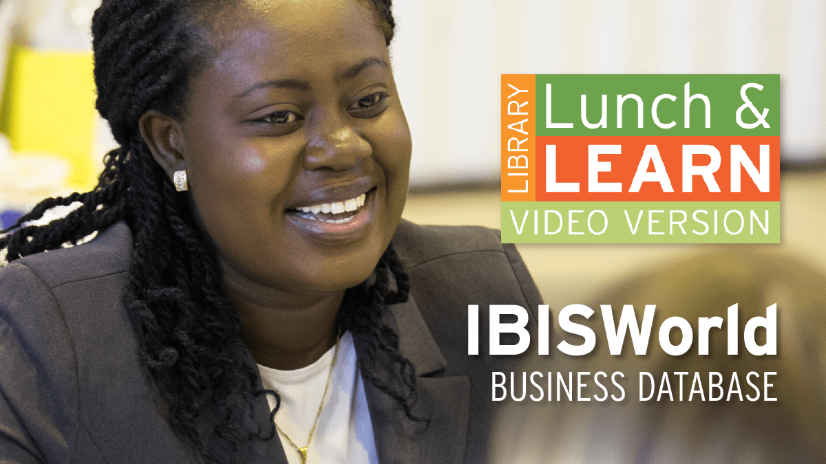 Business student having a conversation. Lunch and Learn logo.Text: IBISWorld - Business Database.