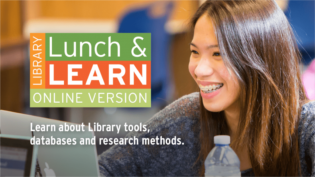 Library Lunch and Learn - Image of smiling student sitting in front of laptop