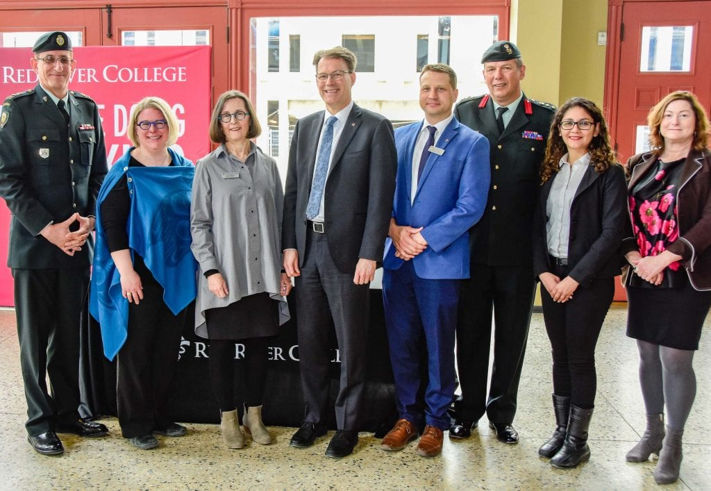 Representatives from Red River College and the Canadian Armed Forces
