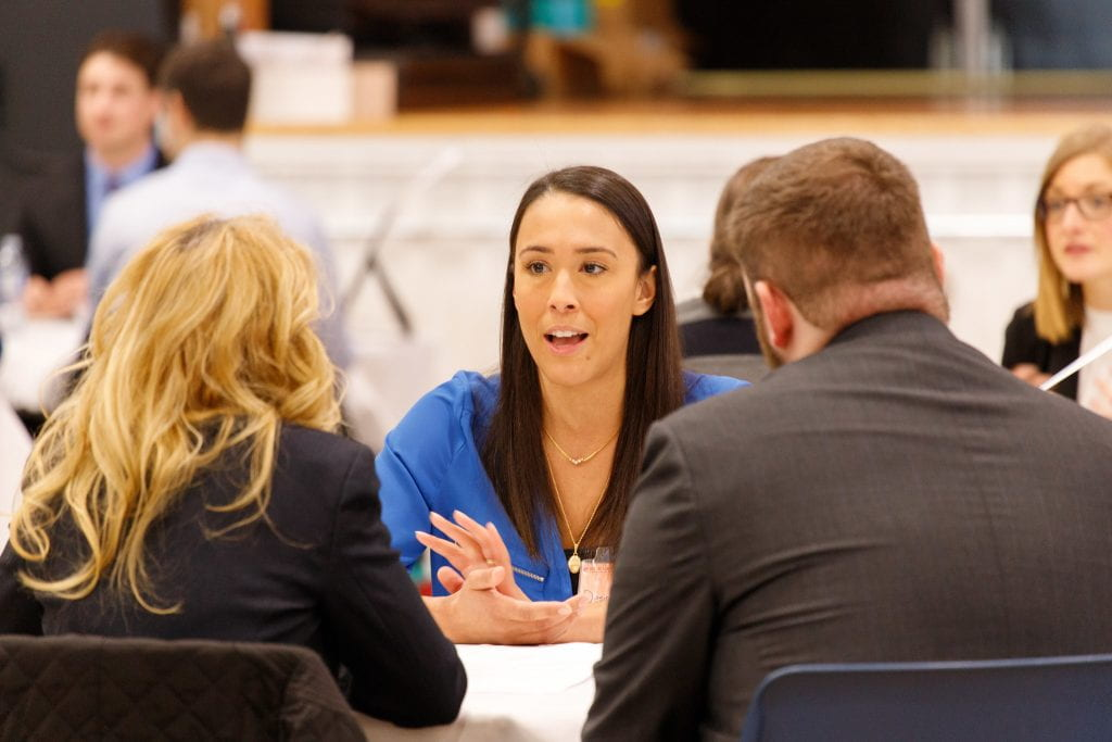 Student being interviewed by recruiters, Red River College