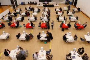 Aerial shot of recruitment event, Red River College