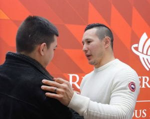 Jordin Tootoo talks to RRC student