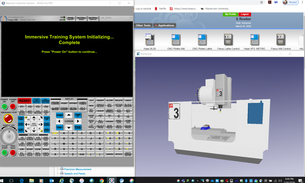 onscreen image of CNC emulator