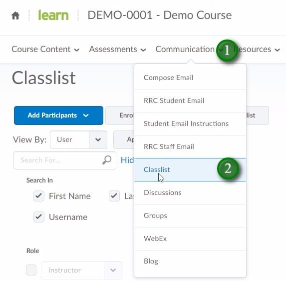 Clicking Communication and Classlist in LEARN