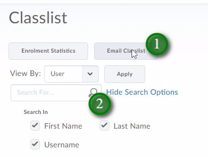 Email Classlist and Search Classlist options examples