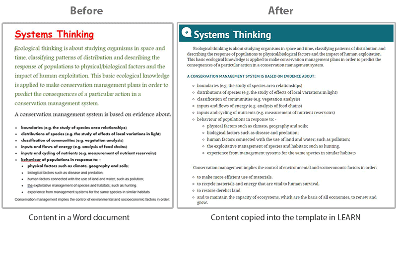 The look of a page done in Microsoft Word before and after template formatting.