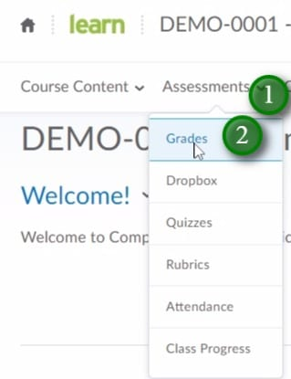 Clicking Assessments menu and then Grades