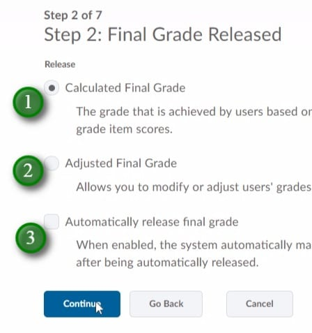 Gradebook Setup Wizard step 2 of 7