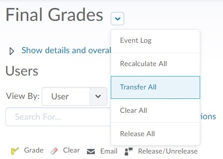 Final Adjusted Grades Options