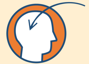An illustration of a head with an arrow pointing to the brain
