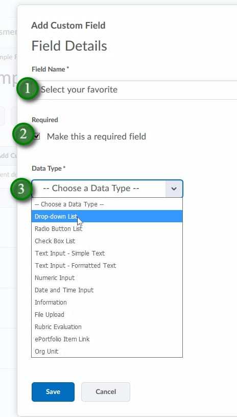 ;Give the Field a Name (1), deside if it's required or not (2), and select what Data Type you would like (3)