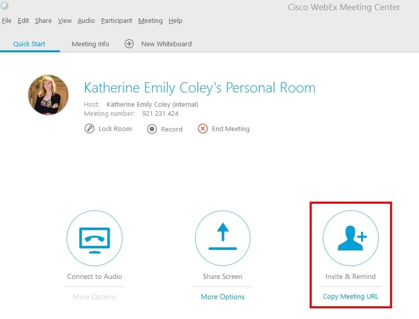 Easily Invite Participants;Invite participants via email or directly within Outlook with the WebEx productivity tools.
