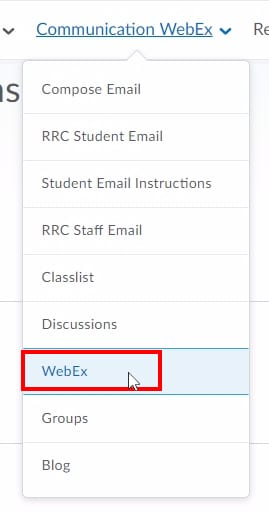 "In your LEARN course, click ""Communication"" then ""WebEx"";This will take you to the LEARN WebEx integration where you can view and schedule classes."