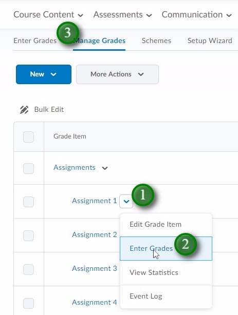 "; To add/edit grades for one grade item, click the menu beside the desired grade-item (1), click ""Enter Grades"" (2). You can also enter grades for multiple grade items by clicking ""Enter Grades"" (3)"