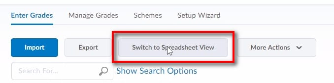 "; After clicking ""Enter Grades"" you will see your entire gradebook. If you receive the colour coded gradebook view, click ""Switch to Spreadsheet View"" to be able to add/edit multiple grade items."