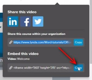 ;If you wish to embed the Lynda.com course intro video allong with the course link, return to Lynda.com and copy the embed code.