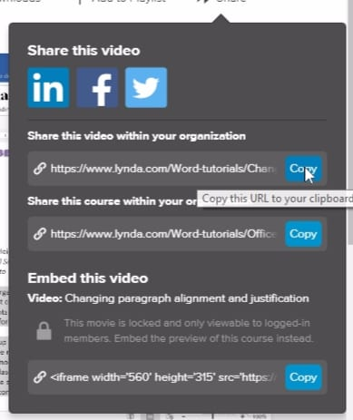 ;If you select a specific video within Lynda.com you are able to provide a link directly to that video.