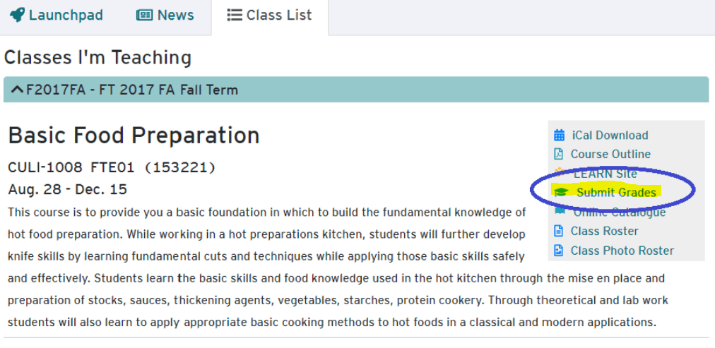 Submit Grades option from Classlist on HUB