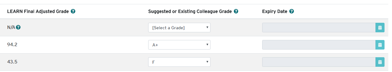 Example of gradebook items transferred to HUB
