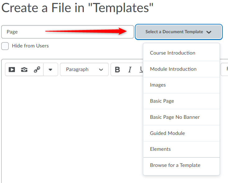 Select Document Template