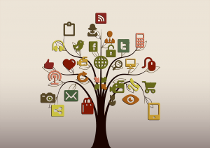 Image of tree with communication symbols scattered throughout the branches including icons for Twitter, email, smart phones, video, Facebook.